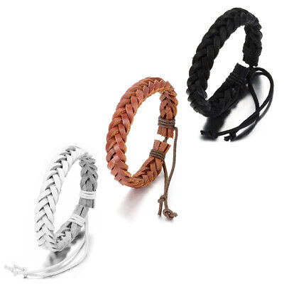 Men Women Adjustable Tribal Braided Leather Rope Wheat Woven Surf Cuff Bracelet (Leather Woven Braided Bracelet)