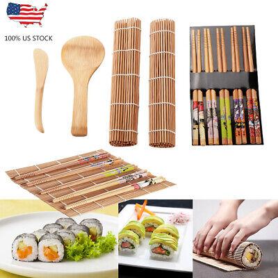 Bamboo Sushi Making Kit DIY Homemade Sushi Maker Set Rolling Mats for Beginners