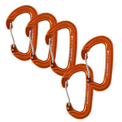 Fusion Climb Contigua Wire Gate Modified D Shape Carabiner Orange  5-Pack
