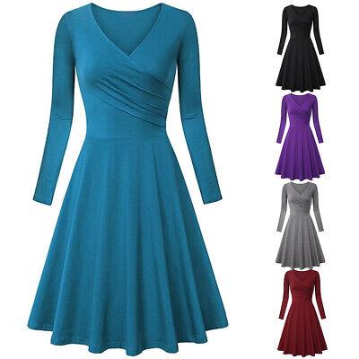 Women Vintage 50s Plain V-neck Swing Dress Evening Party A Line Flare Dresses Vintage Womens Flares