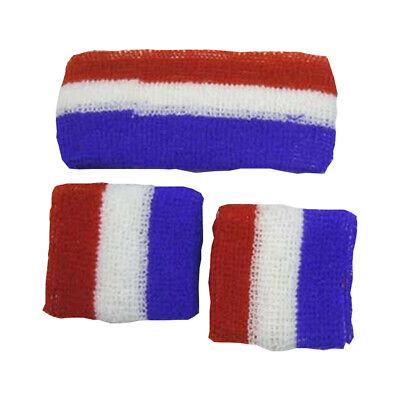 Stirnband Armband Set Rot Weiß Blau Schweißband Amerikanische Flagge 3 Stripes ()