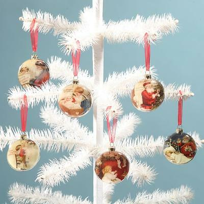 Bethany Lowe 6 Glass Disc Ornaments Jolly St Nick Santa Theme Designs