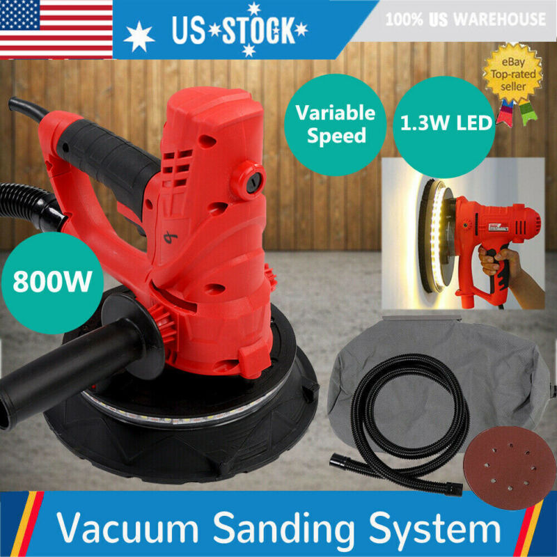 Electric HandHeld Drywall Sander 800W Variable Speed with Vacuum & LED Light US