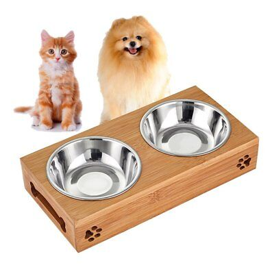 Elevated Dog Feeder Cat Pet, Double Bowl Raised Stand Two Stainless Steel Bowls