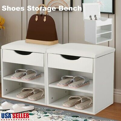3 Shelf Storage Bench Organizer Hall Wooden Shoe Cabinet with Drawers Shoe Seat Wooden Shoe Cabinet