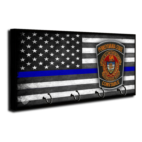 Thin Blue Line Flag Pennsylvania Constable Dept. Patch Dog Leash and Key Hanger