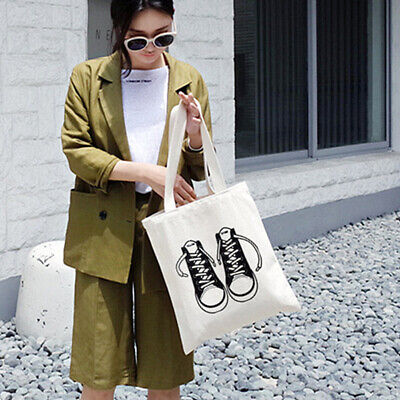 Women Casual Shoulder Tote Bag Canvas Handbag Reusable Cotton Shopping Bag Well Clothing, Shoes & Accessories