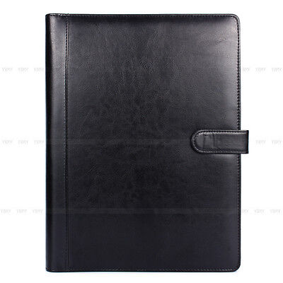 A4 Conference Folder Portfolio Ring Binder Organiser Calculator Leather Black