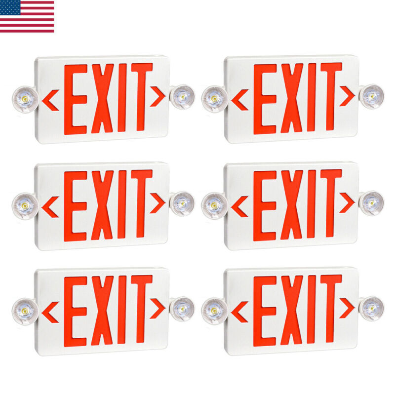6 Pack LED Exit Sign Emergency Light – Hi Output RED Compact Combo UL-Listed