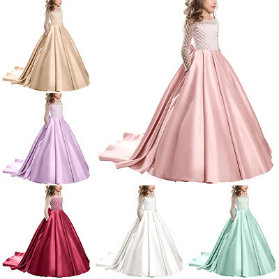 Flower Girl Wedding Bridesmaid Formal Long Dress First Communion Ball Prom - First Communion Long Dresses