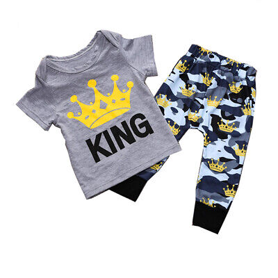 "US Stock Newborn Baby Boy Clothes ""KING""T Shirt Top Pants Outfit Sets 2Pcs"