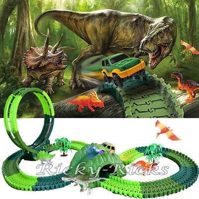 Dinosaur Light Up Car Race Track T-Rex Jurassic Loop Set Kids DIY Toy Park