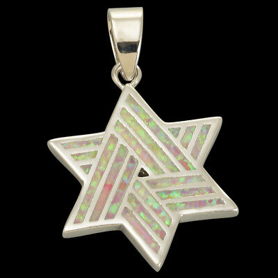 Star of David Stripe Light Pink Fire Opal Inlay Silver Jewelry Necklace Pendant ()