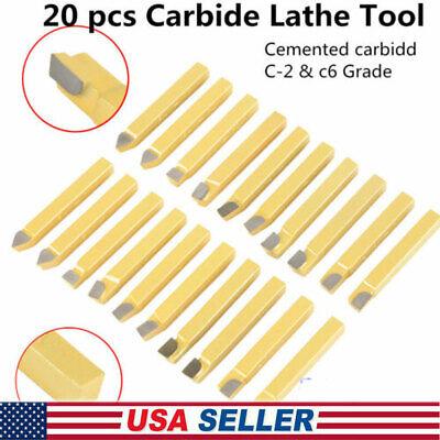20pcs 14in Carbide Tip Tipped Cutter Tool Bit Cutting Set For Metal Lathe Tool