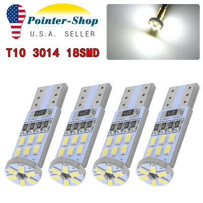 4pcs Super White T10 194 192 LED Car Map Dome License Plate Interior Light Bulbs