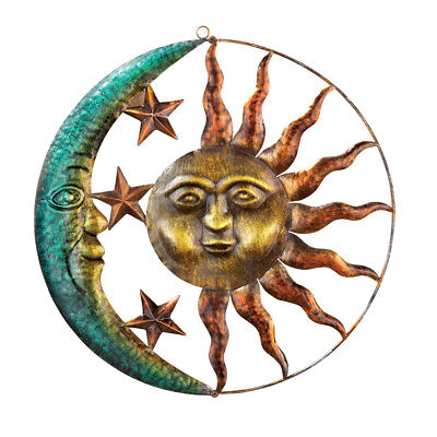 Artistic Sun And Moon Metal Wall Art for Indoor or Outdoor Use, Brown