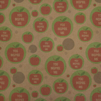 You Inspire Me Teacher Apple Premium Kraft Gift Wrap Wrapping Paper Roll - Apple Gift Wrap
