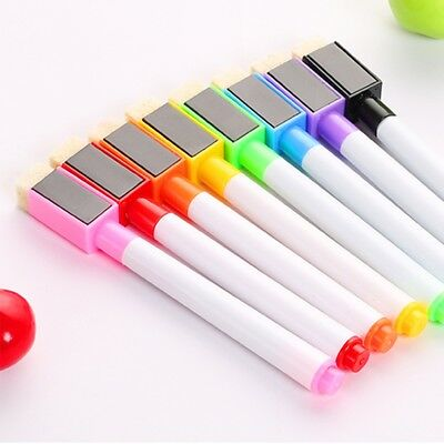 8 Colors Set Magnetic White Board Marker Pens With Dry Erase Eraser Schoou