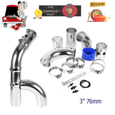 High Flow 3'' 76mm Auto Car Cold Air Intake Filter Tubes Pipe Hose Induction Kit