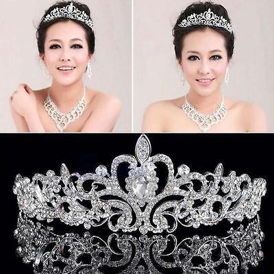 Womens Princess Bridal Metal Rhinestones Tiara Crown Headband Hair Band Wedding (Metal Tiara)