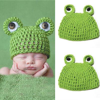 Baby Fotografie Fotoshooting Frosch Strick Mütze Kostüm Häkelkostüm Neugeborenen ()