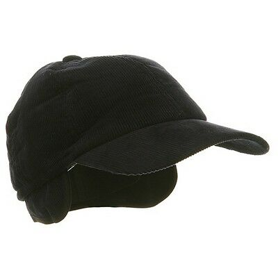Adult Men's Winter Corduroy Quilted Baseball Cap Hat  With Ear Flap Navy LARGE