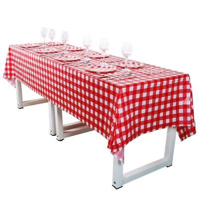 108In X 54In Checkered Red And White Plastic Tablecloth Set With Disposable New