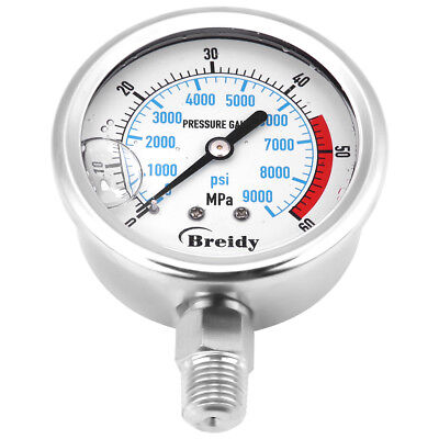 60mm Hydraulic Pressureseismic Oil Filled Pressure Gauge Meter 60mpa 9000psi