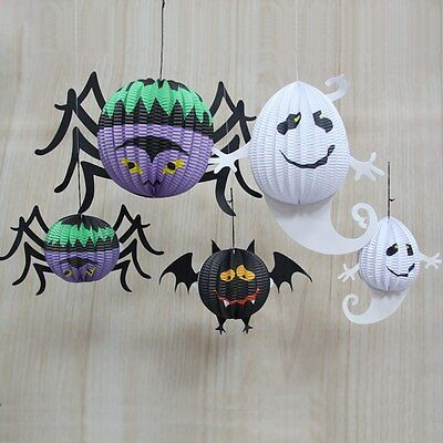 Outdoor Diy Halloween Decorations (Halloween 3D Paper Ghost Bat Spider Hanging Lantern Outdoor DIY Party Decor)