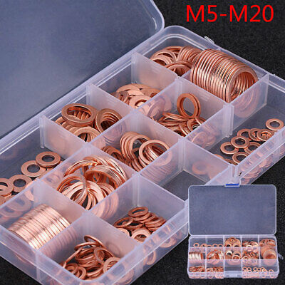 280pcs 12 Sizes Assorted Solid Copper Crush Washers Seal Flat Rings Kit M5-M20
