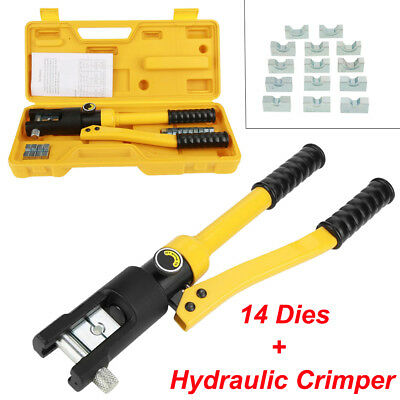 10 Ton Hydraulic Wire Crimper Tool Battery Cable Lug Terminal Crimping 14 Dies