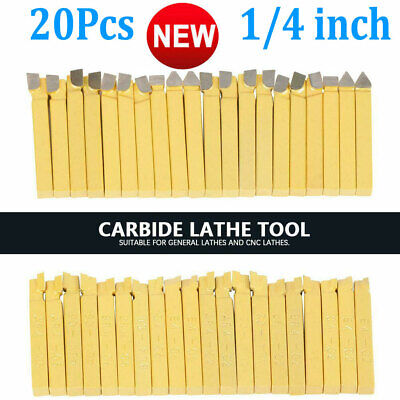 20pcs 14 Metal Lathe Tooling Carbide Tip Tipped Cutter Tool Bit Cutting Set Us