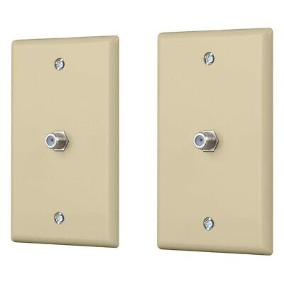 2 Pcs Wall Plate 1-Gang For RG6 RG59 Coax Coaxial Cable TV Jack Data Line Ivory Ivory Rg59 Wall Plate