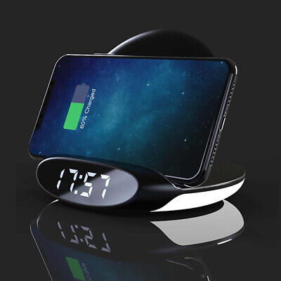 LED 10W QI Wireless Charger Digital with Alarm Clock For iPhone 8 X XS MAX XR