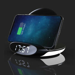 Electric QI Phone Charger Wireless Useful Digital Alarm Clock For iPhone/Android