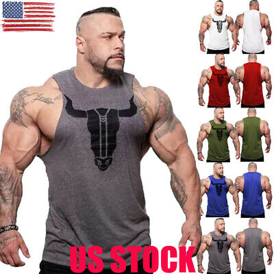 - US Mens Gym Muscle Shirt Tank Top Sports Bodybuilding Fitness Athletic Vest NEW