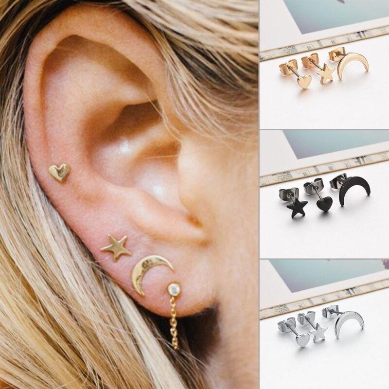 3pcs/set Cute Small Moon Star Heart Ear Stud Earrings Women'