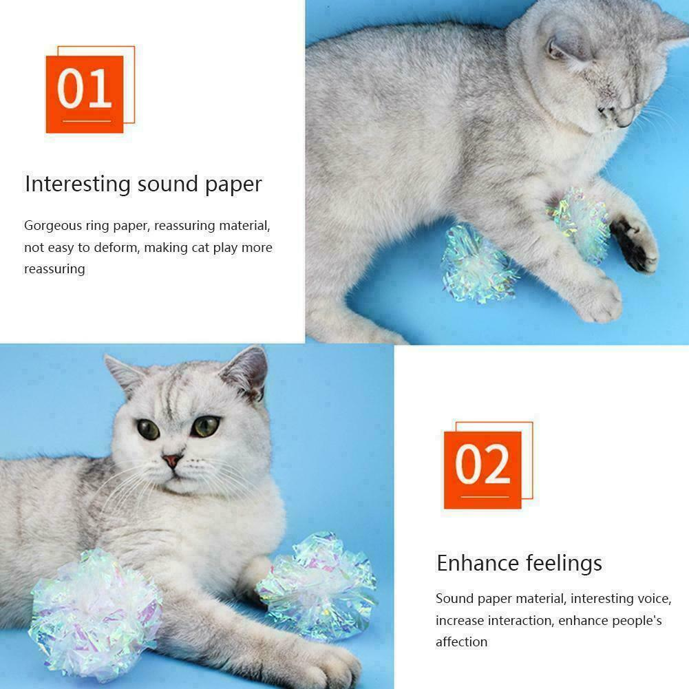 Cat Toys Ball Mylar Crinkle Interactive Colorful Ring CL Pet Stuff Play H5X6 F16 - $6.72