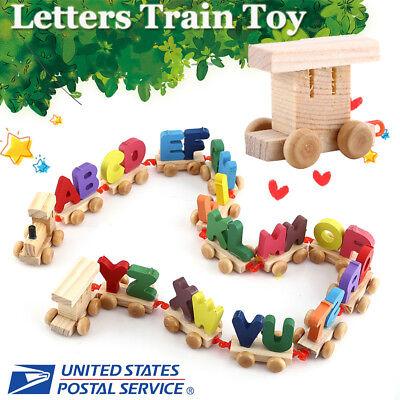 - 13X Wooden Train Set Alphabet Wood Letters W/Wheels Kids Toddler Educational Toy