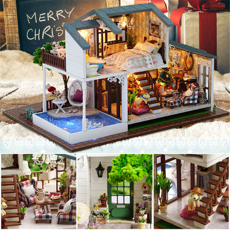 Miniature Doll House LED Light DIY Kit Dolls Toy House With Furniture Box Gift