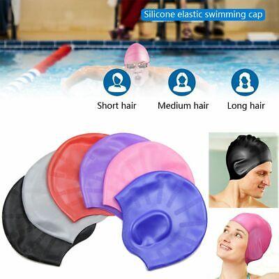 Silicone Swimming Cap Adult Large Men Ladies Female Swim Waterproof Hat (Mens Swim Cap Large)