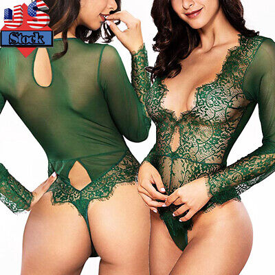Sexy-Lingerie Women Lady One Piece V-Neck Lace Babydoll Nightwear Bodysuit Green