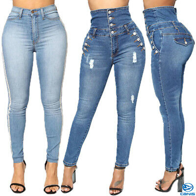 e219e8ad PLUS SIZE Women Leggings Skinny High Waist Jeans Trousers Denim Pencil Pants