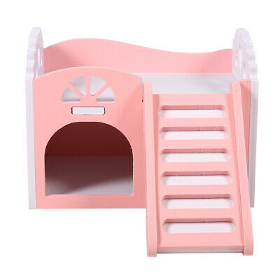 Pet House Wooden Hamster Hideout Hut for Small Animals Dwarf Mouse Exercise -