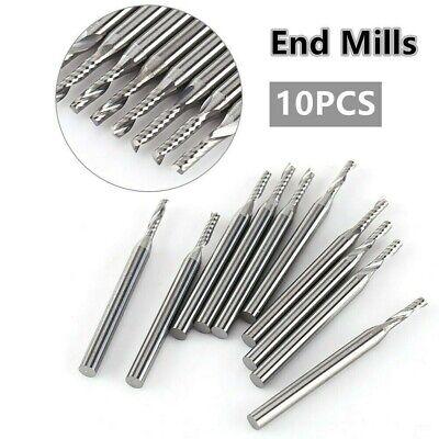 10pcs 18 2mm Cnc Double Flute Spiral Carbide Flat Nose End Mill Router Bit Set