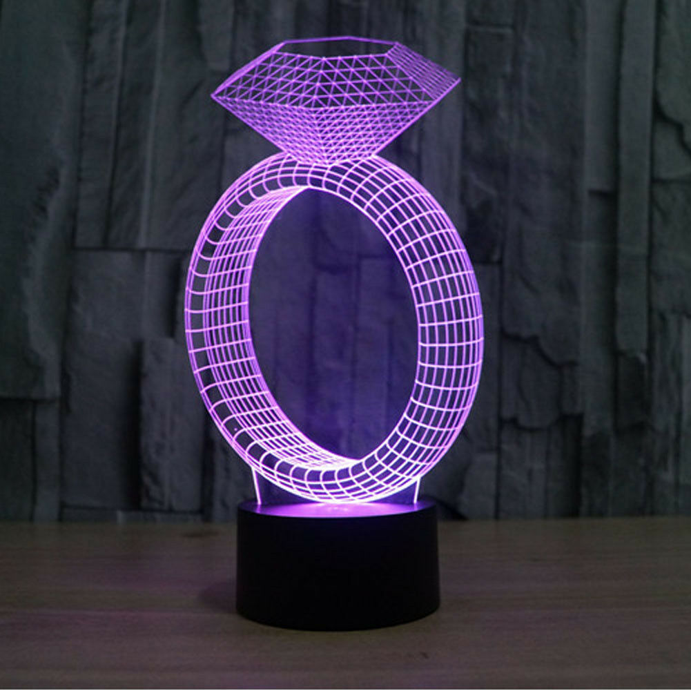 Diamond Ring 7 Color Change 3D Night Light Gift Home Decoration Touch Cool Lamp