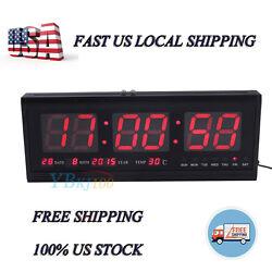 4819 LED Digital Large Big Jumbo Snooze Wall Room Office Desk Calendar Clock US