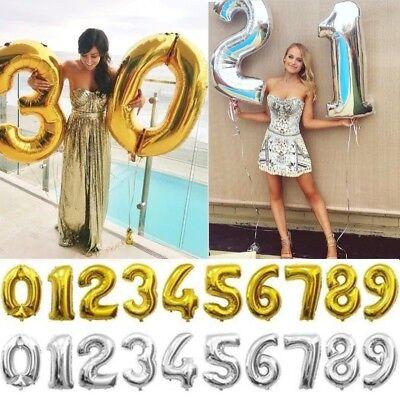 Zahl Luftballon XL 75CM Nummer Folienballon Geburtstag Jubiläum Deko Silber Gold