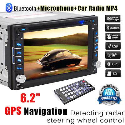 Double 2 Din Touch Screen Car DVD Player GPS Nav Radio Stereo Bluetooth FM/USB