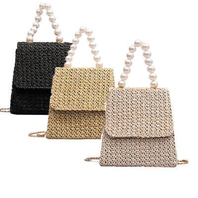 New Women Straw Bag Woven Round Rattan Handbag Crossbody Summer Beach Bags US](Woven Beach Bag)